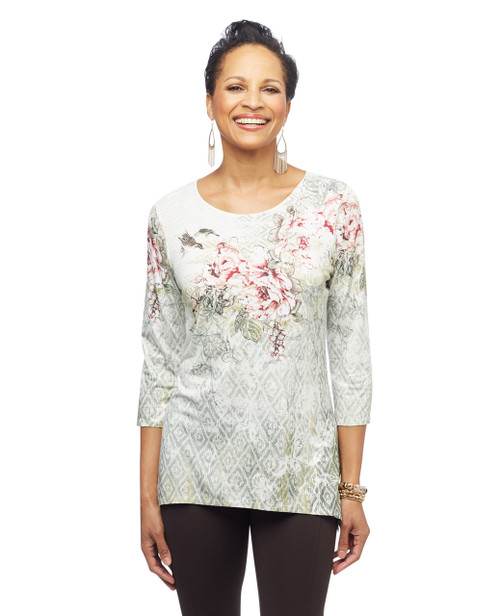 Women's petite peony floral printed top