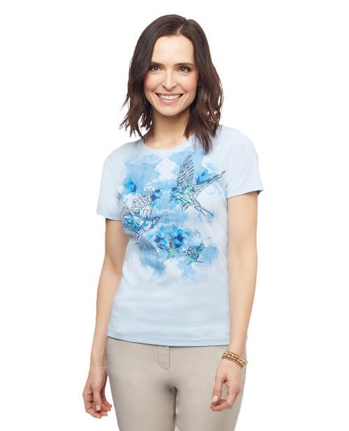 Women's short sleeve bird printed graphic tee