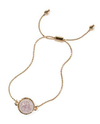 Women's lilac and gold adjustable slider bracelet