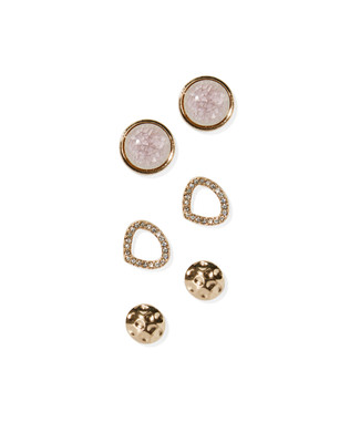 Women's lilac and gold stud three pack earrings