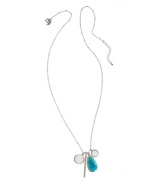 Women's turquoise and silver long pendant statement necklace