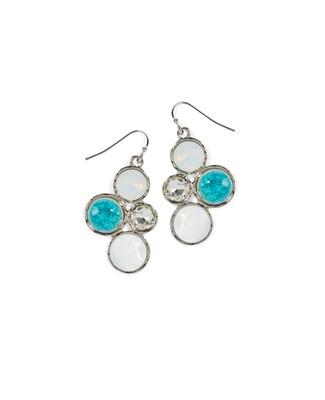 Women's turquoise moon stone dangle drop earrings