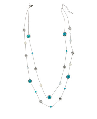 Women's turquoise and silver layered statement necklace