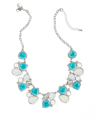Women's turquoise moon stone and silver short statement necklace