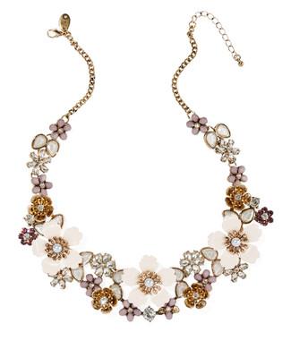 Women's floral gold short bib statement necklace