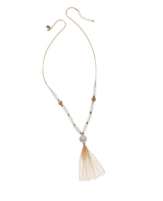 Women's sage green multi stone and gold long pendant tassel necklace