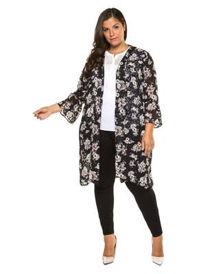 Women's plus Amanda Green black floral printed kimono.