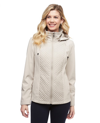 Women's parchment lightweight quilted mix media jacket