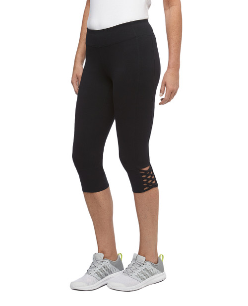 Women's lattice cuff activewear capri pants