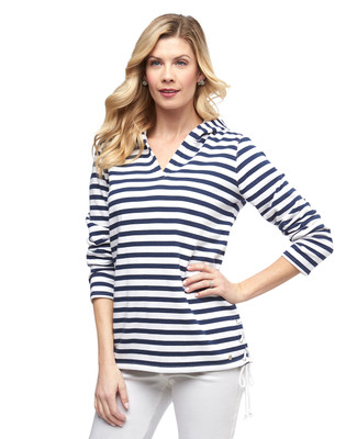 Women's navy nautical stripe lace up pull over hoodie