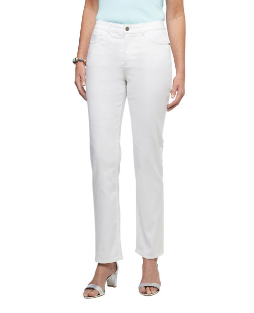 Women's white straight fit embroidered Town jeans