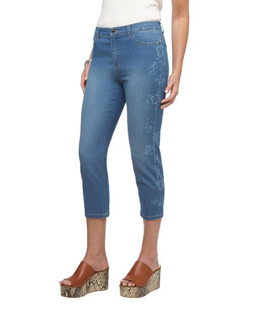 Women's stretch floral printed cuffed denim jeans