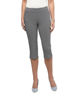 Women's black diamond printed  pull on comfort capri pants