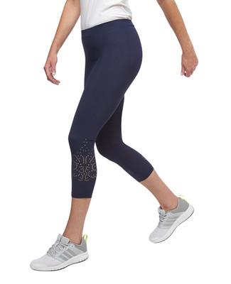 Women's navy Point Zero laser cut pull on leggings
