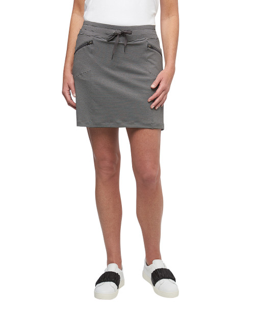 Women's heather grey stripe Point Zero skort with zipper pockets