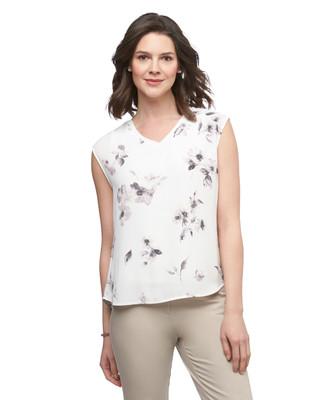 Women's Amanda Green white floral printed V neck tunic top
