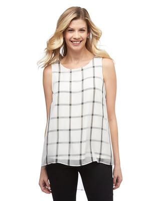 Women's white hi low sleeveless square pin blouse