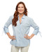 Women's crystal blue stripe button up shirt with hi lo hem