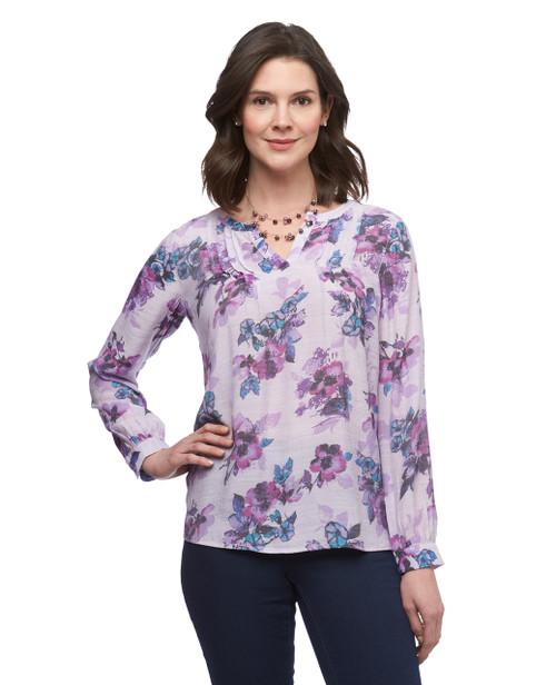 Women's lilac floral pintuck detailing blouse