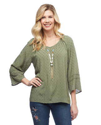 Women's three quarter bell sleeve swiss dot peasant top