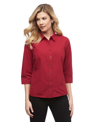 Women's petite three quarter sleeve garment dye button up shirt