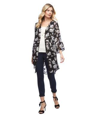 Women's Amanda Green lightweight floral burn out open front topper