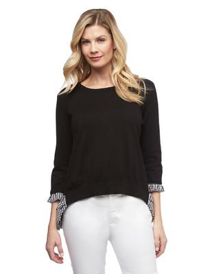 Women's Amanda Green black gingham pullover fooler shirt