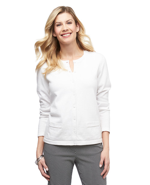 Women's button up cardigan with welt pockets
