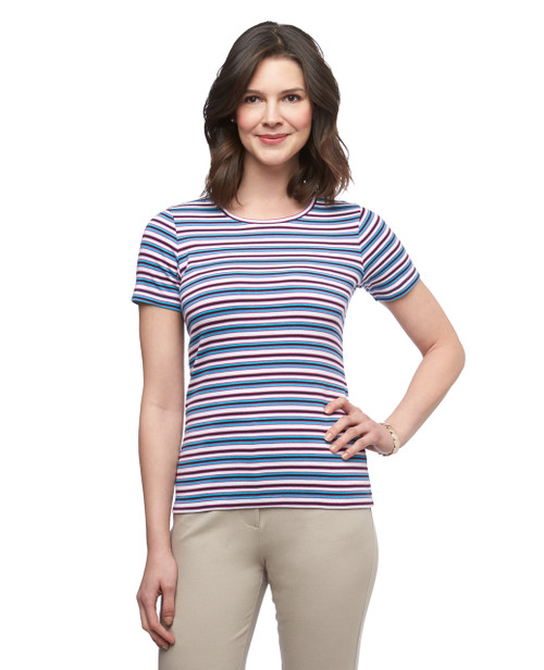 Women's stripe cotton crew neck tee