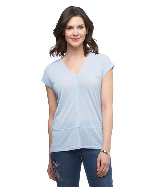 Women's blue Point Zero mesh V neck top