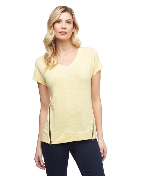 Women's yellow Point Zero zipper hem V neck top