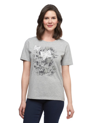 Women's grey butterfly graphic crew neck cotton tee