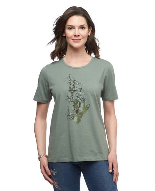 Women's moss green parrot graphic crew neck cotton tee