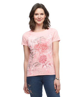 Women's peony floral graphic boat neck cotton tee