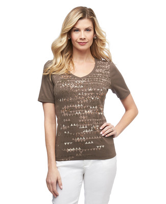 Women's hazel geometric graphic V neck cotton tee