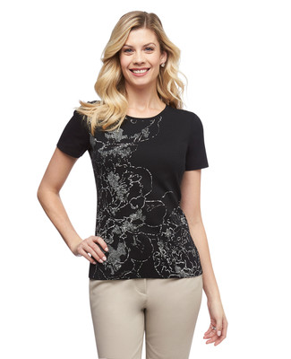 Women's black floral cloud graphic crew neck cotton tee