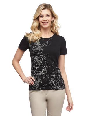 Women's black floral cloud graphic crew neck cotton tee
