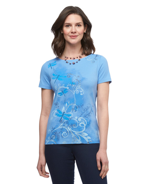 Women's pure blue dragonfly graphic boat neck cotton tee