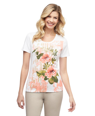 Women's white island florals graphic crew neck cotton tee