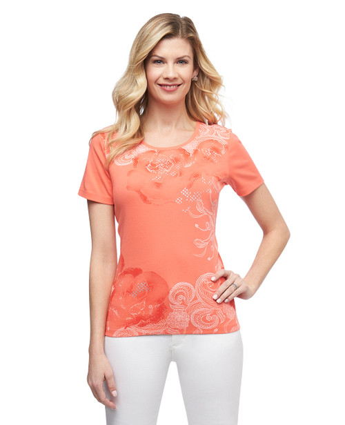 Women's orange island scroll graphic crew neck cotton tee