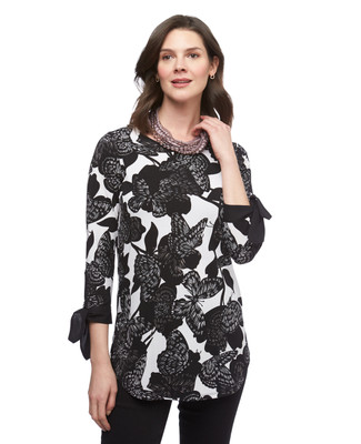 Women's black and white floral printed tunic