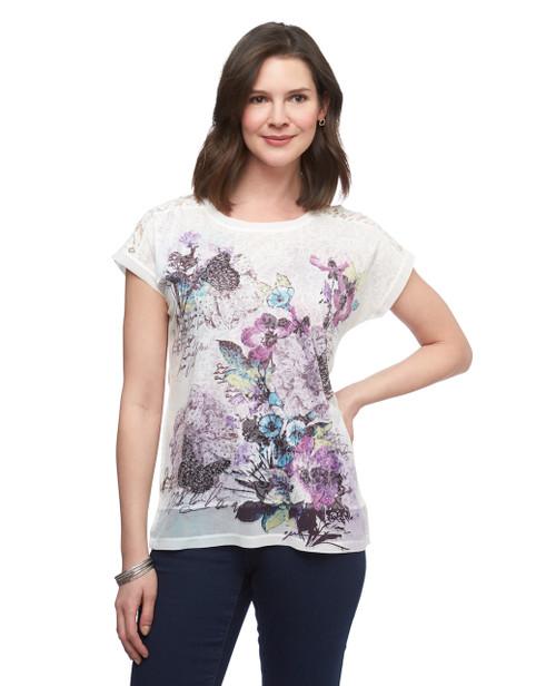 Women's short sleeve sublimation print lace blouse