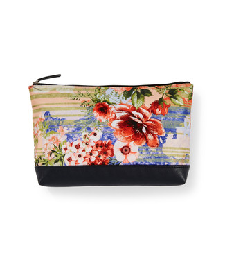 Women's coral lily island blues cosmetic bag