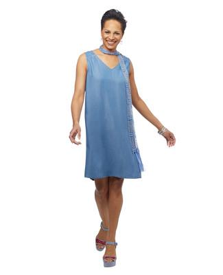 Women's denim cut out back sleeveless dress