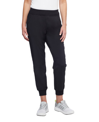 Women's black pull on pants with cuffed ankles