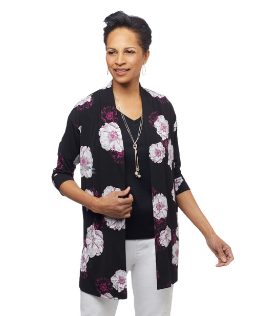 Women's floral open front topper