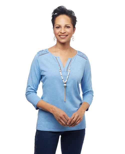 Women's blue tee with y neck and lace yoke