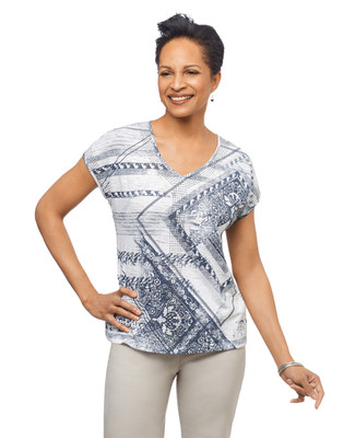 Women's navy cap sleeve shirt with patchwork graphic
