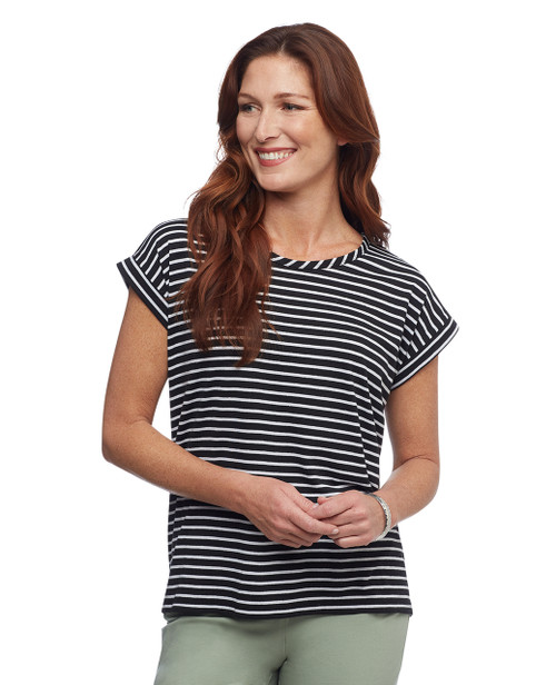Women's linen stripe tee