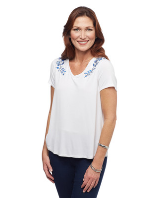 Women's white floral embroidered top